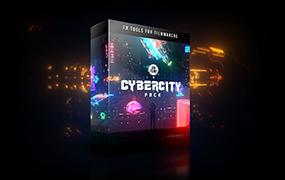 【F198】4K视频素材-251个未来科技赛博朋克发光图形元素特效合成动画Cybercity Pack